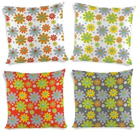 ShopMantra Beautiful Vector Flowers Printed Cushion Cover Set of 4 (40.64 cm (16 Inch) x 40.64 cm (16 Inch)) Multicolor Cushion Cover