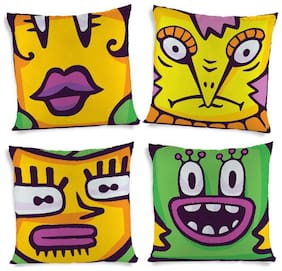 ShopMantra Cute Monster Face Doodle Printed Cushion Cover Set of 4 (40.64 cm (16 inch) x 40.64 cm (16 inch)) Multicolor Cushion Cover