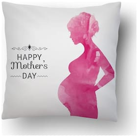 ShopMantra Cute Mother And Baby Vector 40.64 cm (16 inch) * 40.64 cm (16 inch) Cushion Cover With Filler Mother day/ Mother gifts