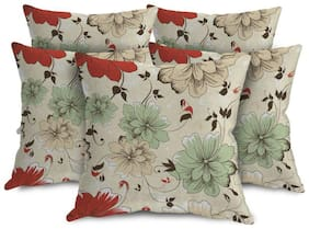 ShopMantra Flowers Floral Pattern Printed Cushion Cover Set of 5 (40.64 cm (16 inch) x 40.64 cm (16 inch)) Multicolor Cushion Cover