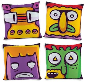 ShopMantra Funny Cartoon Monster Expressions Printed Cushion Cover Set of 4 (40.64 cm (16 inch) x 40.64 cm (16 inch)) Multicolor Cushion Cover
