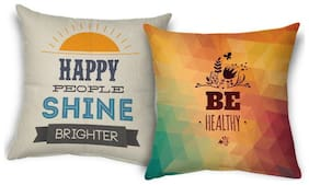 ShopMantra Healthy Happiness Quote Printed Cushion Cover Buy one get one (set of 2) Size 16*16 inch