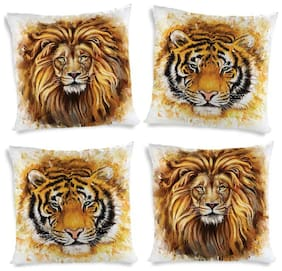 ShopMantra Lion And Tiger Art Artwork Printed Cushion Cover Set of 4 (40.64 cm (16 inch) x 40.64 cm (16 inch)) Multicolor Cushion Cover
