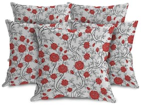 ShopMantra Red Flowers Pattern Printed Cushion Cover Set of 5 (40.64 cm (16 Inch) x 40.64 cm (16 Inch)) Multicolor Cushion Cover