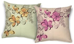 ShopMantra Vector Flowers Design Printed Cushion Cover Buy one get one (set of 2) Size 16*16 inch