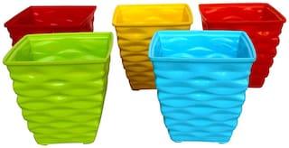 ShopMeFast Plastic Diamond Flower Pot Set, Plastic Plant Containers Set (4 inch, Multicolored, 5 Pieces)