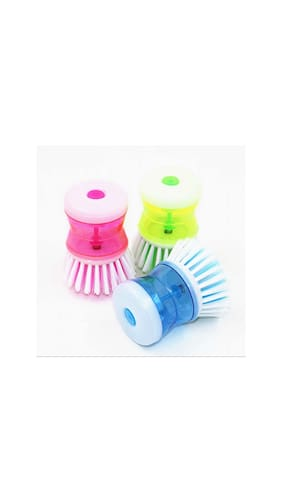 Shopo's 3 PCS Cleaning Brush with Liquid Soap Dispenser(multi color)