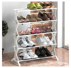 Shopper52 5SHRCK 5 Tier Foldable Stainless Shoe Rack (Holds 16 Pairs) - 5SHRCK