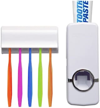 Shopper52 Automatic Toothpaste Dispenser with Tooth Brush Holder for Home and Bathroom Acessories - TTHDISK