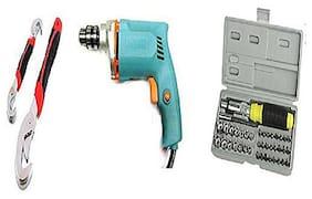Shopper52 Buy Powerful Drill Machine + 41 pcs Tool Kit Screwdriver + Snap N Grip Wrench - DRL41SNP