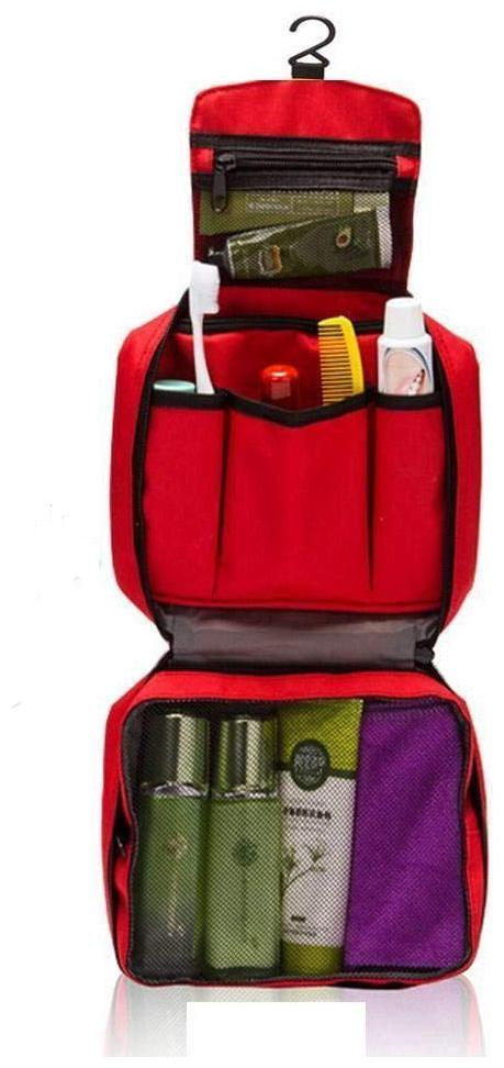 Shopper52 Canvas Red Multi Functional Travel Pouch Cosmetic Bag   TRVBAGRD