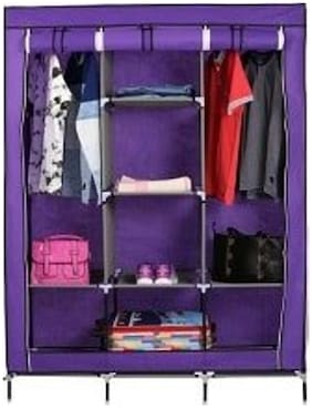 Shopper52 Fancy & Portable Fabric Collapsible Foldable Clothes Closet Wardrobe Storage Rack Organizer Cabinet Cupboard Almirah Multicolor - 88130A