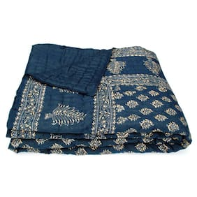 Shopping Rajasthan Cotton Printed Single Size Quilt Blue