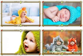 Shopsji Set of 4 Cute Baby Combo Posters|Pregnant Women baby poster|cute baby poster|Wall paper|new born baby poster laminated Paper 300gs (12x18)