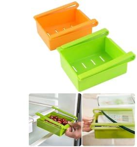ShopSwipe Set of 2 Refrigerator Storage Rack for Fruit;Vegetable;Multi-Purpose Fridge Space Saver Organizer Slide Storage Rack Shelf Drawer