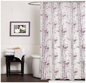 Shower Curtain For Bathroom Pvc Printed - 8 Hooks With Rust proof Plastic Eyelets - ( LXB ) 84 inch ( 213.36 cm )x 55 inch ( 139.7 cm) 7 Feet Set of 2 Pcs By Design Villa - Purple Color