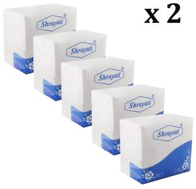 Shrayati Marraige Catering Paper Tissues 30*30 cm;2 Ply Combo of 10 : White
