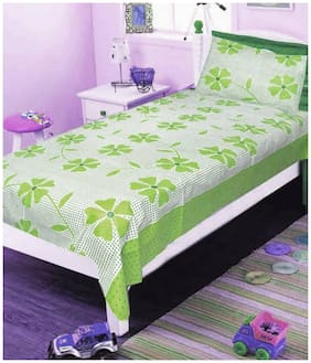 Shree Jee Cotton Floral Single Size Bedsheet 104 TC ( 1 Bedsheet With 1 Pillow Covers , Green )