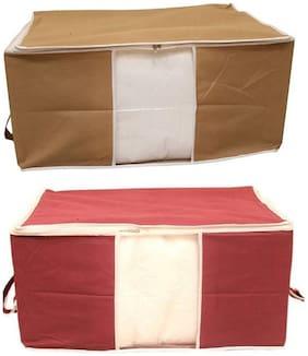 Shree Jee Beige And Maroon Blanket Covers/Bag