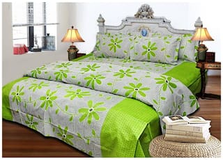 Shree Jee Cotton Abstract King Size Bedsheet 104 TC ( 1 Bedsheet With 2 Pillow Covers , Green )