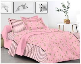 Shree Jee Cotton Geometric King Size Bedsheet 200 TC ( 1 Bedsheet With 2 Pillow Covers , Pink )