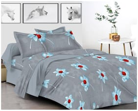Shree Jee Cotton Floral King Size Bedsheet 200 TC ( 1 Bedsheet With 2 Pillow Covers , Grey )