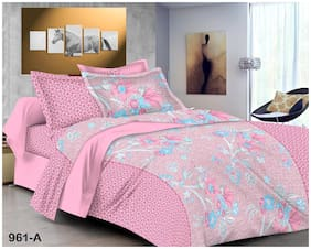 Shree Jee Cotton Floral King Size Bedsheet 200 TC ( 1 Bedsheet With 2 Pillow Covers , Pink )