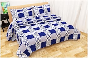 Shree Jee Polyester Printed Double Size Bedsheet 220 TC ( 1 Bedsheet With 2 Pillow Covers , Blue )
