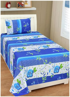 Shree Jee Cotton Floral Single Size Bedsheet 104 TC ( 1 Bedsheet With 1 Pillow Covers , Multi )