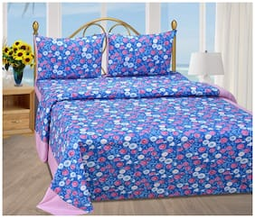Shree Jee Cotton Floral Double Size Bedsheet 104 TC ( 1 Bedsheet With 2 Pillow Covers , Multi )