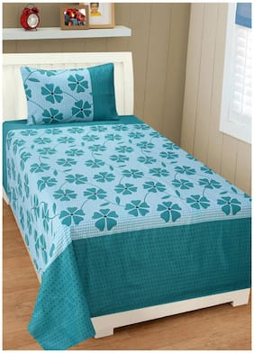 Shree Jee Cotton Floral Single Size Bedsheet 104 TC ( 1 Bedsheet With 2 Pillow Covers , Multi )