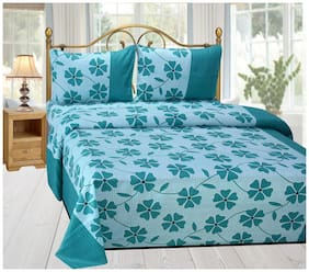 Shree Jee Cotton Floral King Size Bedsheet 104 TC ( 1 Bedsheet With 2 Pillow Covers , Multi )