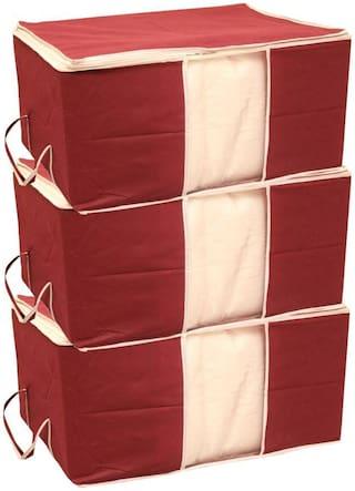 Shree Jee Maroon Blanket Stroage Bag(Pack Of 3)