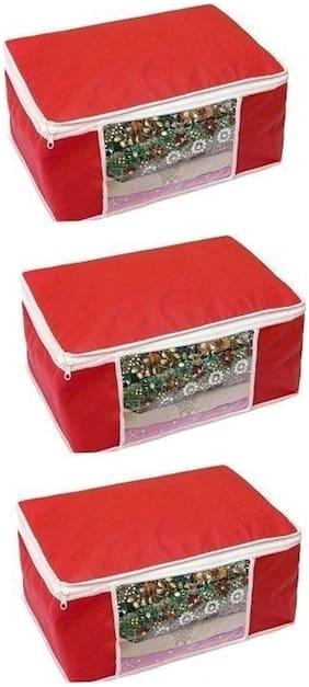 Shree Jee Red  Saree Storage Bag(Pack Of 3)