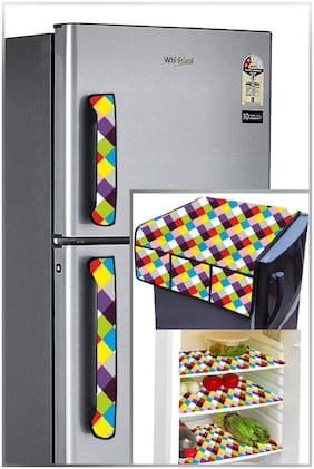 Shree Jee Printed 1 pc.Refrigerator top cover & 3 pcs Refrigerator Mats & 2 pcs. Fridge Handle Cover(Pack of 6))