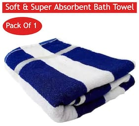 Shree Jee 400 GSM Cotton Bath towel ( 1 piece , Blue & White )