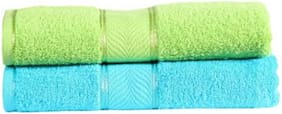 Shree Jee 300 GSM Cotton Bath towel ( 2 pieces , Green & Turquoise )