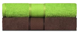 Shree Jee 400 GSM Cotton Bath towel ( 2 pieces , Green & Brown )
