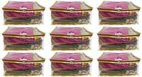 Shree Shyam Products Golden Transparent Box Saree Cover 9 pcs Set