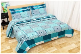 Shree Jee Microfiber Printed Double Size Bedsheet 104 TC ( 1 Bedsheet With 2 Pillow Covers , Multi )