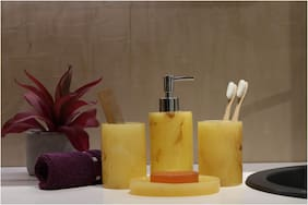Shresmo Home Indulgence Bathroom Set 4 Piece;Yellow Polyresin Bath Set Collection Of Liquid Soap Dispenser;Toothbrush Holder;Tumbler And Soap Dish By Shresmo