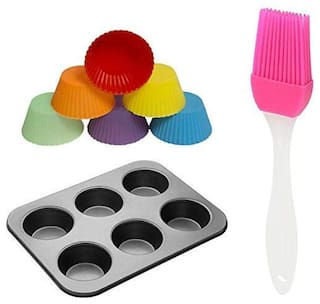 Shrines Bakeware Kitchen Bakeware Combo Set Non Stick Kitchen Baking Tray,6 Nonstick Silicone Cupcake Muffin Molds with Oiling Pastry Brush,Microwave Oven Safe Kitchen Tool Set