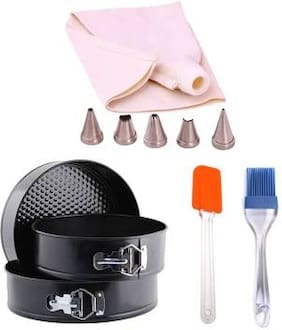 Shrines Bakeware Combo Kit For baking: Round Cake Mould, Silicone Spatula with Brush and Icing Bag with Nozzle
