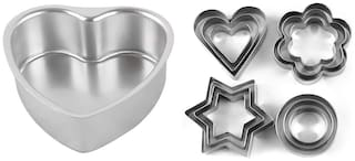 Shrines Combo of Aluminium Heart Shape Cake Mould with 12 Pieces Stainless Steel Cookie Cutter