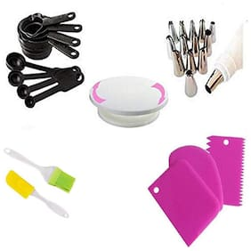 Shrines Combo of Cake Tools & Accessories Pack Cake Making Supplies Decoration Sculpting Tools & Kitchen Tool Set Cake Table, Scrapper, Measuring Cup, Spatula, Brush, Cake Nozzle Multi Color