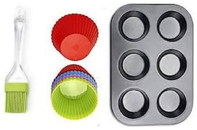 Shrines Combo of Non Stick Kitchen Baking Tray 6 Cups with 6 Nonstick Silicone Cupcake Muffin Molds with Oiling Pastry Brush Microwave Oven Safe