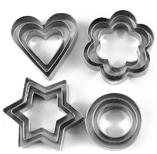 Shrines Cookie Cutter Stainless Steel Cookie Cutter with 4Shape;12 Pieces