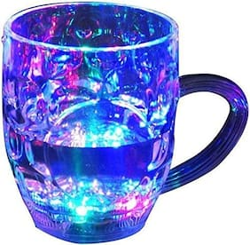 Shrines Glass Drinking Cup With Inductive Rainbow Magic Color Cup With LED Light Multi Purpose Use Cup (Set of 1)