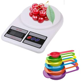 Shrines Popular Combo - Multipurpose Portable Electronic Digital Weighing Scale Weight Machine (10 Kg - with Back Light);6 Pcs Multi colors Measuring Cups and Spoons Set