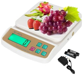 Shrines SF-400A 10 KG Electronic Weight Machine for Kitchen | Food Weight Scale for Home.Kitchen.Shop | Small.Portable Weighing Scale for Food.Products|White -with Adapter